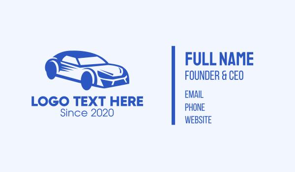 car dealership - Blue Coupe Car Business card horizontal design