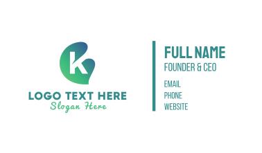 Green Gradient Leaf Letter K Business Card