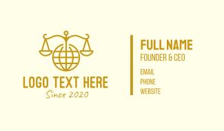 International Law Gold Globe Business Card