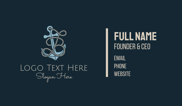 sailor - Anchor Rope Letter B Business card horizontal design