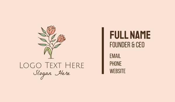 camellia - Natural Rose Flowers  Business card horizontal design