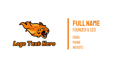 Esports Gaming Tiger Flame Business Card