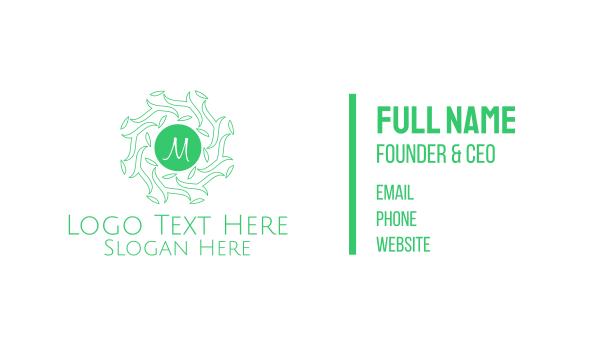 eco park - Forest Leaves Lettermark Business card horizontal design
