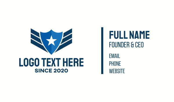 military - Star Police Badge Business card horizontal design