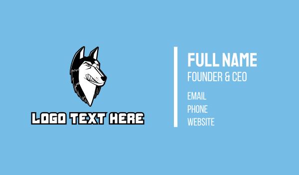 husky - Angry Husky Mascot Business card horizontal design