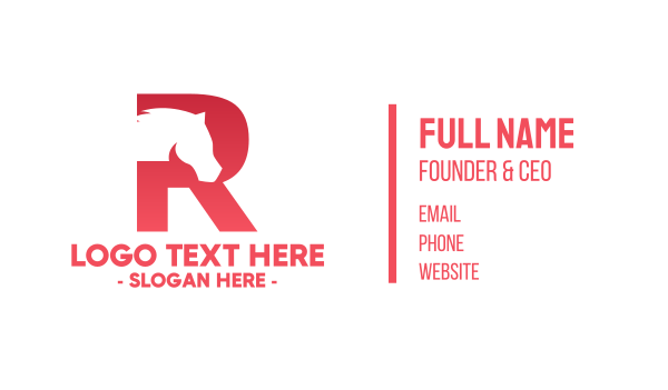 equestrian - Red Letter R Horse Business card horizontal design