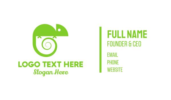 green lizard - Chameleon Spiral Business card horizontal design
