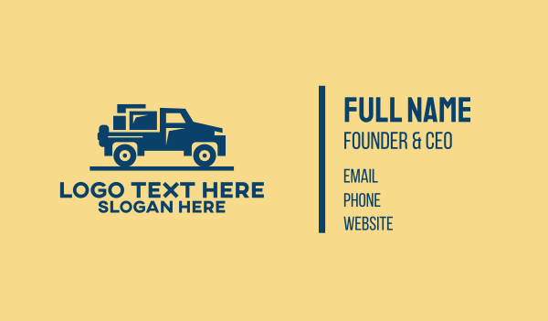 auto repair - Moving Pickup Truck  Business card horizontal design