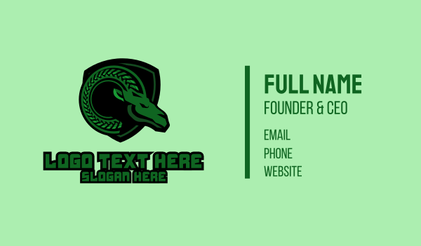 mythical - Green Ram Mascot Business card horizontal design