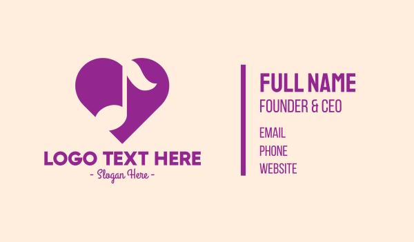 music class - Purple Heart Note Business card horizontal design