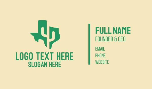 desert - Texas Cactus Map  Business card horizontal design