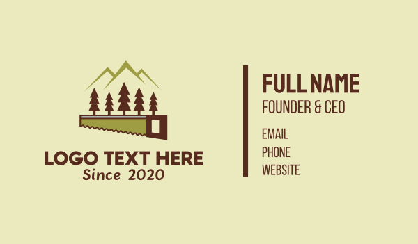 tool - Mountain Forest Woodcutting Business card horizontal design