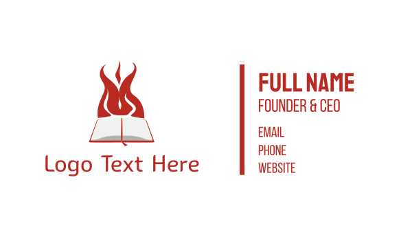 hell - Book & Fire Business card horizontal design