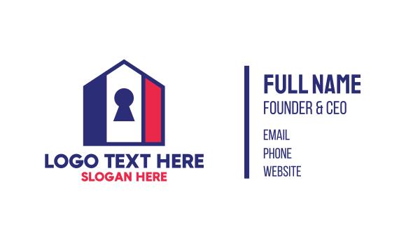 key hole - USA House Key Business card horizontal design