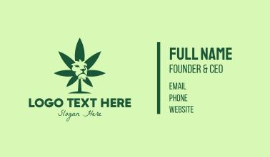 Green Cannabis Lion Business Card