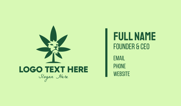 silhouette - Green Cannabis Lion Business card horizontal design