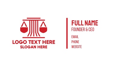 Red Pillar Legal Scales Business Card