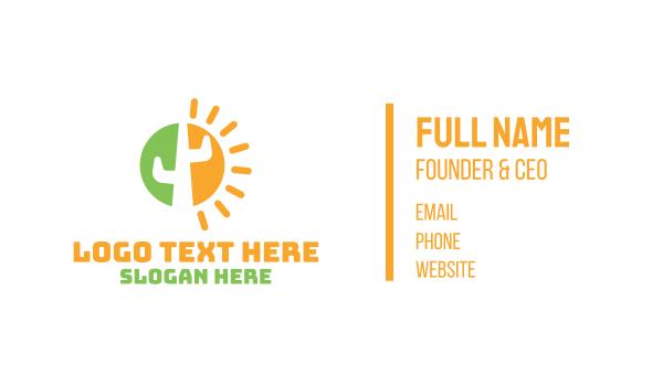 sahara - Abstract Sun Cactus  Business card horizontal design