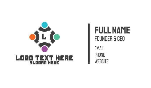 recruiter - Abstract Tech Community Business card horizontal design