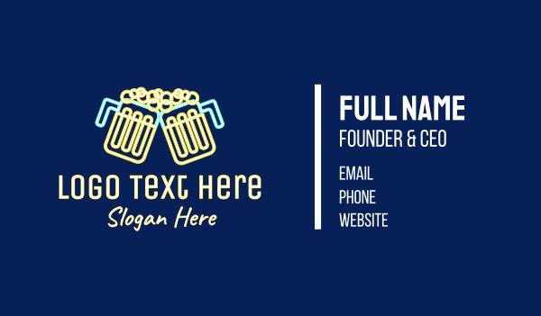 beer mug - Neon Beer Pub Bar Business card horizontal design