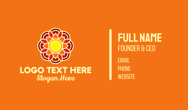floral design - Orange Lotus Flower Business card horizontal design