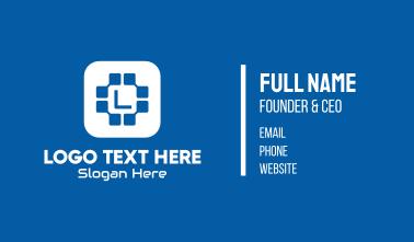 Blue Tech Lettermark Business Card