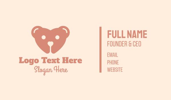 plushie - Teddy Bear Heart  Business card horizontal design