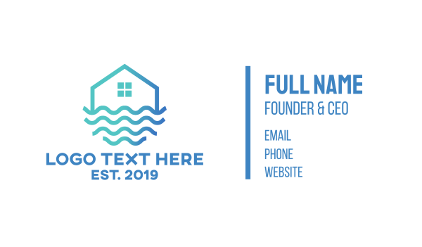 home services - Wave House Home Business card horizontal design