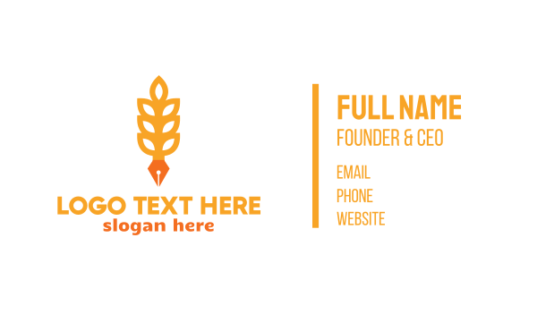 author - Rice Grain Pen Business card horizontal design