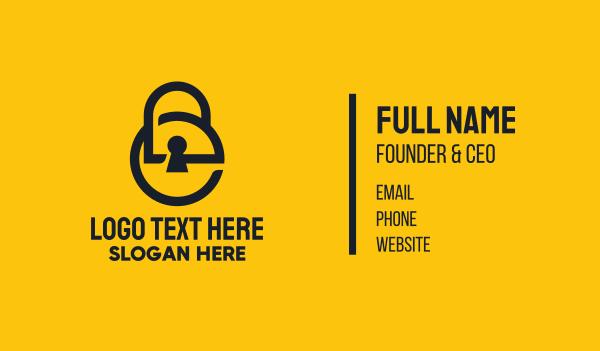 keyhole - Minimalist Keylock Letter E Business card horizontal design