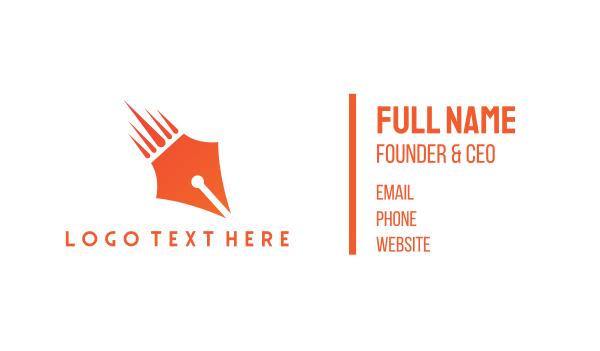 orange pencil - Pen Meteor  Business card horizontal design