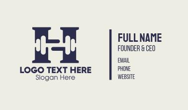 Gym Dumbbell Letter H Business Card