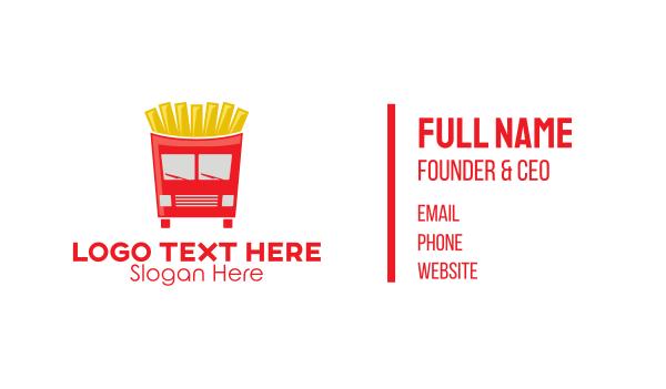 van rental - French Fries Food Truck Business card horizontal design