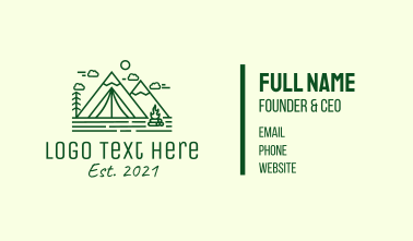 Minimalist Camping Tent Business Card