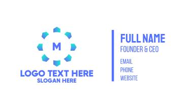 Blue Snowflake Lettermark Business Card