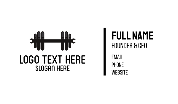 strength - Black Wrench Barbell Business card horizontal design