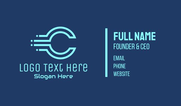 digital money - Blue Digital Letter C Business card horizontal design