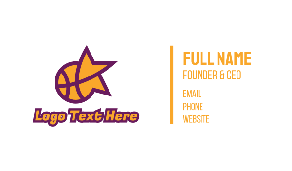 mvp - Star Basketball Sports Business card horizontal design