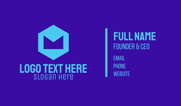 app developer - Blue Geometric Letter M Business card horizontal design