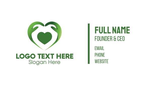 hands - Green Heart Caregiver Business card horizontal design