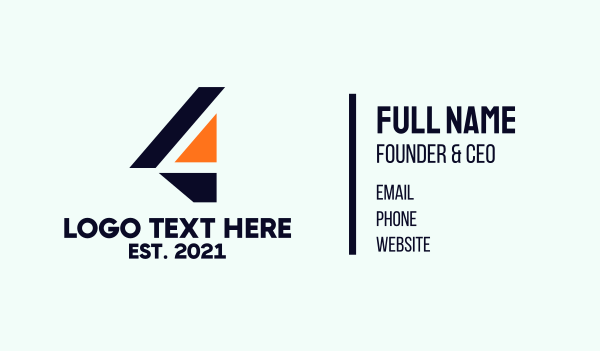 geometrical - Modern Number 4 Business card horizontal design