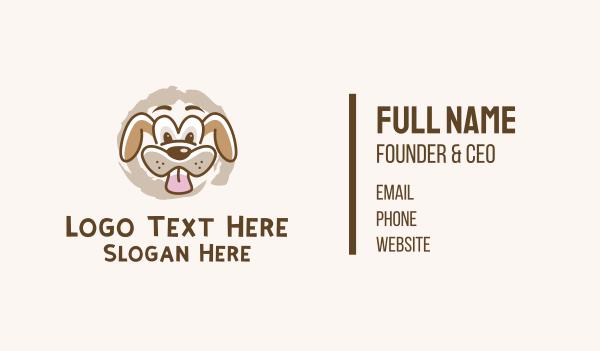 dog walker - Wacky Dog Face Business card horizontal design