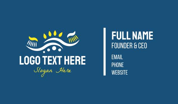 toothbrush - Tropical Summer Toothbrush Business card horizontal design