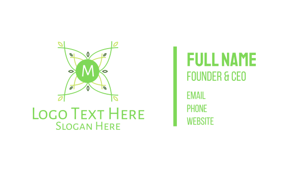 natural therapy - Green Plant Nature Lettermark Business card horizontal design
