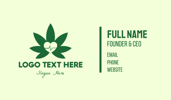 heartbeat - Green Healthy Weed Business card horizontal design