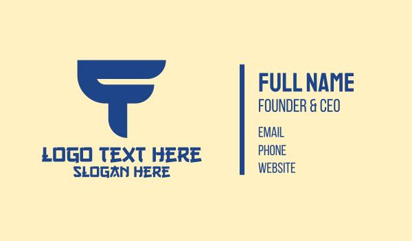 subliminal - Blue Asian T Business card horizontal design
