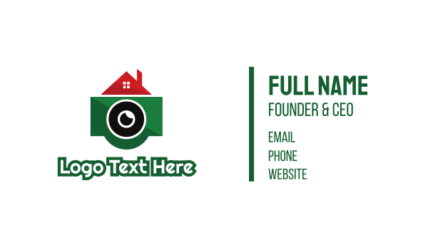 camera - Green Camera House Business card horizontal design