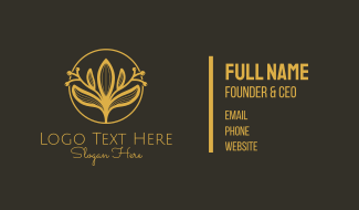 Golden Flower Badge Business Card