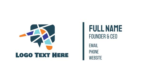 social network - Mosaic Boomerang Chat Business card horizontal design