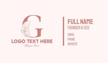 Elegant Leaves Letter G Business Card